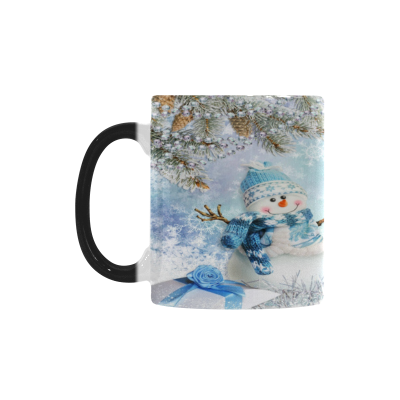 InterestPrint Christmas Greeting Card with Pine Branches Snowman and Gifts 11oz Heat Sensitive Color Changing Morphing Coffee Mug Tea Cup Travel, Funny Unique Birthday Gift for Men Women Him Her