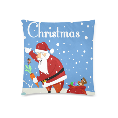InterestPrint Merry Christmas Santa Claus Rabbit Home Decor Pillowcase 18 x 18 Inches - Winter Snow Snowflake Pine Tree Blue Pillow Cover Case Shams Decorative