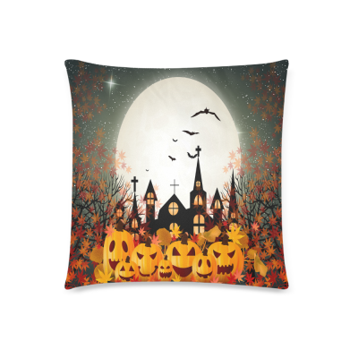 InterestPrint Halloween Orange Pumpkin Full Moon Home Decor Pillowcase 18 x 18 Inches - Autumn Maple Leaf Glitter Pillow Cover Case Shams Decorative