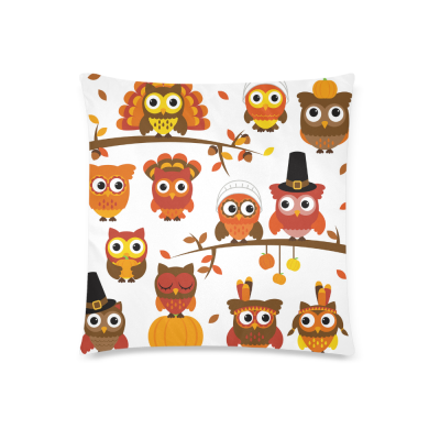 InterestPrint Happy Thanksgiving Day Funny Owl Home Decor Pillowcase 18 x 18 Inches - Hispter Turkey Pillow Cover Case Shams Decorative