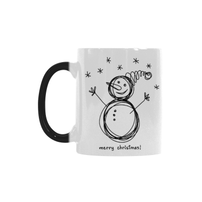 InterestPrint 11oz Cute Invitation Card with Snowman Christmas Morphing Mug Travel Heat Sensitive Color Changing Coffee Mug Cup with Quotes, Unique Funny Birthday Gifts for Men Women Him Her Mom Dad