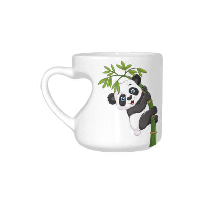 InterestPrint White Ceramic Bamboo with Cute Baby Panda Heart-shaped Coffee Travel Mug Cup with Sayings, Best Friends Friendship Mom Funny Unique Birthday Thanksgiving Gifts