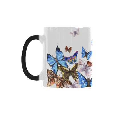 InterestPrint 11oz Summer Watercolor Butterfly Morphing Mug Travel Heat Sensitive Color Changing Coffee Mug Cup with Quotes, Unique Funny Birthday Christmas Gifts for Men Women Him Her Mom Dad