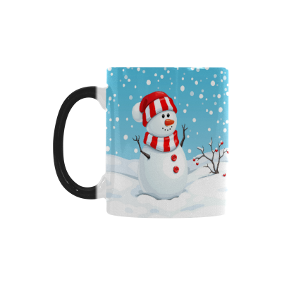 InterestPrint Kitchen & Dining Christmas Cute Snowman Morphing Mug Heat Sensitive Color Changing Mug Ceramic Coffee Mug Cup White 11 oz Winter Snow Snowflake Blue