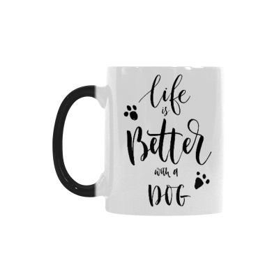 InterestPrint Dog Paw with Life Is Better with a Dog Heat Sensitive Mug Color Changing Mug Morphing Coffee Travel Mug Tea Cup Funny with Sayings Quotes, 11oz Ceramic Mug