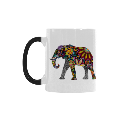 InterestPrint 11oz The Silhouette of Cheerful Flower Elephant Heat Sensitive Mug Color Changing Mug Morphing Coffee Travel Mug Tea Cup Funny, 11oz Ceramic Mug