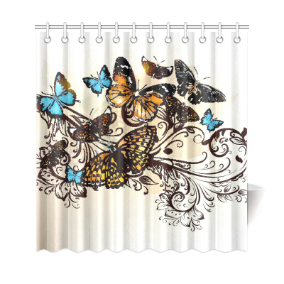 InterestPrint Butterfly Collection Monarch Butterflies Shower Curtain