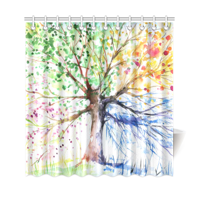 InterestPrint Colorful Tree Four Seasons Shower Curtain, Berry Green Red Yellow Navy Brown, Extra Lo Shower Curtain