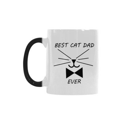 InterestPrint Funny Cat Gifts Best Cat Dad Ever Cat Lovers Cat Memes Gift Coffee Mug Tea Cup Morphing Mug(11 OZ)