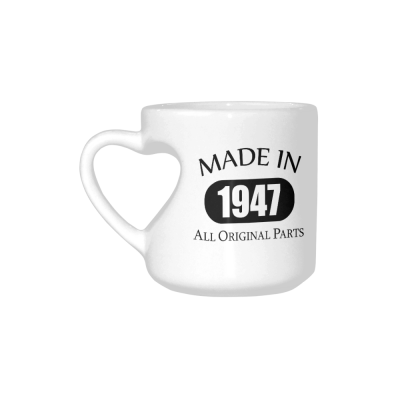 InterestPrint 70th Birthday Gift Made 1947 70th Birthday Party Decorations Gift Coffee Mug Tea Cup White Heart-shaped Mug(10.3 OZ)
