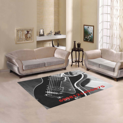 InterestPrint Sweet Home Modern Collection Custom Guitar Area Rug 5'3''x4' Indoor Soft Carpet