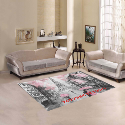 InterestPrint Sweet Home Stores Collection Custom Oil painting street view paris tender Area Rug 5'3''x4' Indoor Soft Carpet