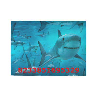 InterestPrint Sweet Home Modern Collection Custom Sharks Under the Blue Ocean Sea Indoor Soft Carpet Area Rug 7' x 5'