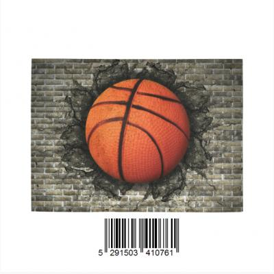 InterestPrint  Sweet Home Modern Collection Custom basketball embedded in a brick wall Indoor Soft C Area Rug 7' x 5'