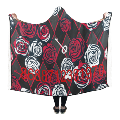 InterestPrint Hooded Blanket Red And White Roses Key Throw Blanket for Adult
