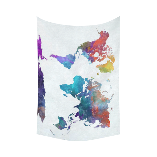 Us 34 99 Interestprint Abstract Art Splatter Painting Home Decor Watercolor World Map Colorful Cotton Linen Tapestry Wall Hanging Art Sets