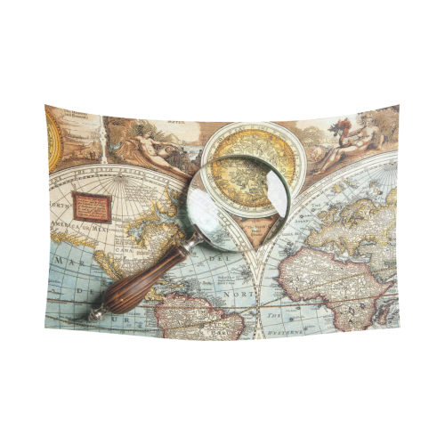 Interestprint vintage world map home decor wall art magnifying interestprint vintage world map home decor wall art magnifying glass and ancient old map cotton linen tapestry wall hanging art sets gumiabroncs Choice Image