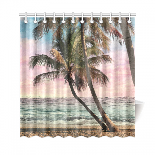 InterestPrint Seascape Home Decor, Tropical Beach Palm Tree Polyester  Fabric Shower Curtain Bathroom Sets With Hooks