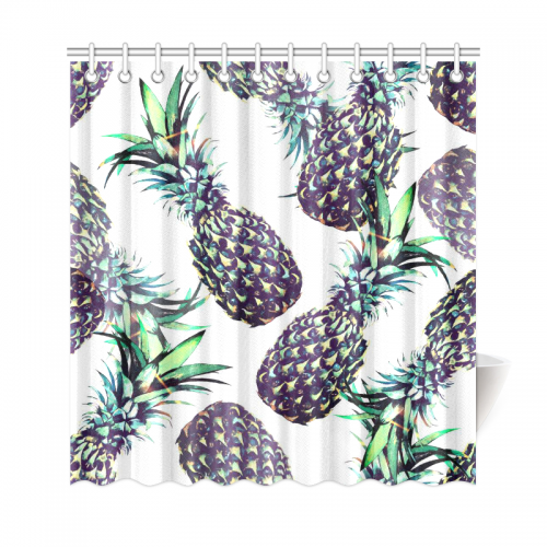 InterestPrint Pineapples Floral Home Decor Tropical Fruits Polyester Fabric Shower Curtain Bathroom Sets With Hooks