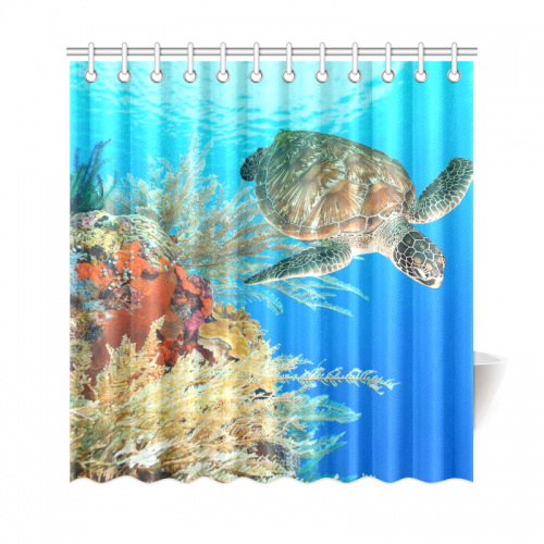InterestPrint Deep Ocean Sea Turtle Home Decor, Underwater World Coral  Polyester Fabric Shower Curtain Bathroom Sets With Hooks