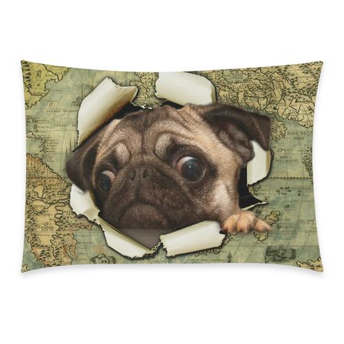 Interestprint Animal Pug Dog Watercolor Vintage World Map Pillowcase