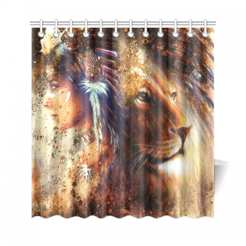 InterestPrint Lion King Home Decor African American Woman Polyester Fabric Shower Curtain Bathroom Sets