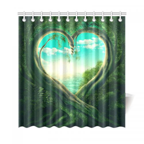 InterestPrint Spring Green Tree Home Decor Landscape Polyester Fabric Shower Curtain Bathroom Sets