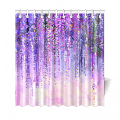 InterestPrint Wisteria Flowers Tree Home Decor Purple Violet Floral Polyester Fabric Shower Curtain Bathroom Sets With Hooks
