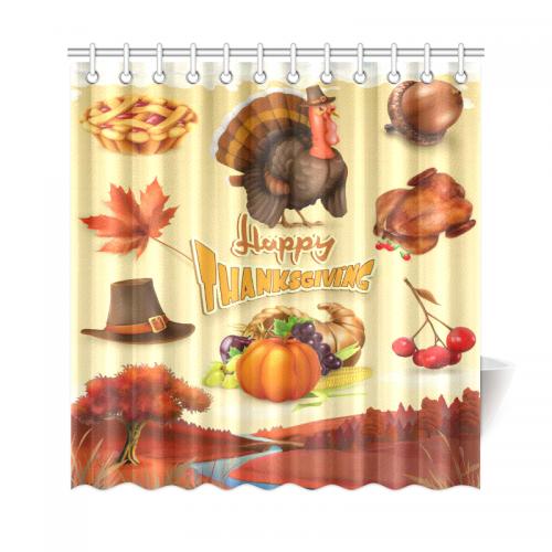 InterestPrint Thanksgiving Theme Harvest Cornucopia Home Decor Polyester Fabric Shower Curtain Bathroom Sets With Hooks