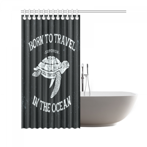 InterestPrint Home Bathroom Decor Funny Sea Turtle Art Shower Curtain Hooks Black And White Fabric Born To Travel In The Ocean Item