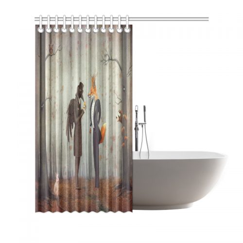 InterestPrint Home Bathroom Decor Forest Raven Fox Shower Curtain Hooks  Fabric Fairy Tales Raven And Fox In A Dark Forest Looking At The Watch With  Rabbit ...