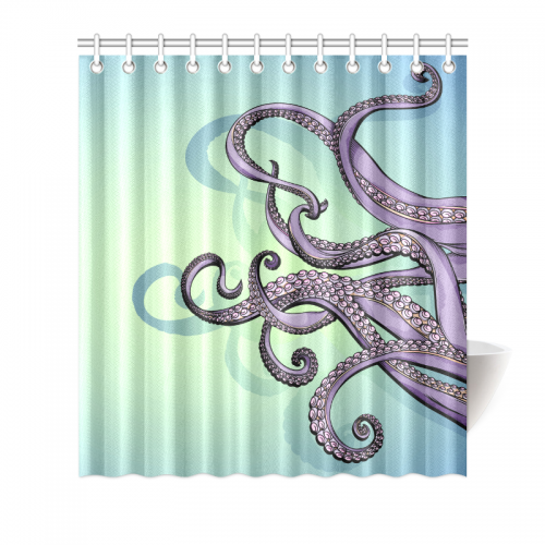 InterestPrint Home Bathroom Decor Colorful Art Funny Octopus Shower Curtain Hooks Blue Violet Purple Fabric Spreading Tentacles
