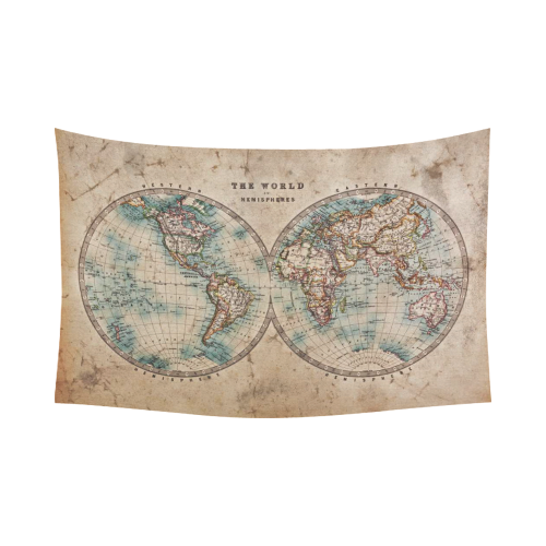 Interestprint global map wall art home decor vintage retro style global map wall art home decor vintage retro style old world map from 1800s for geography and history print cotton linen tapestry wall hanging art sets gumiabroncs Images