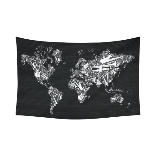 Interestprint globe decor world map silhouette made with musical interestprint globe decor world map silhouette made with musical instruments black and white cotton linen tapestry wall hanging art sets gumiabroncs Image collections