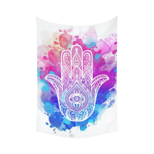 US$ 37.99 InterestPrint Colorful Watercolor Buddha Hamsa Hand Tapestry Wall  Hanging Indian Ethnic Blue Purple Wall Decor Art for Living Room Bedroom ...