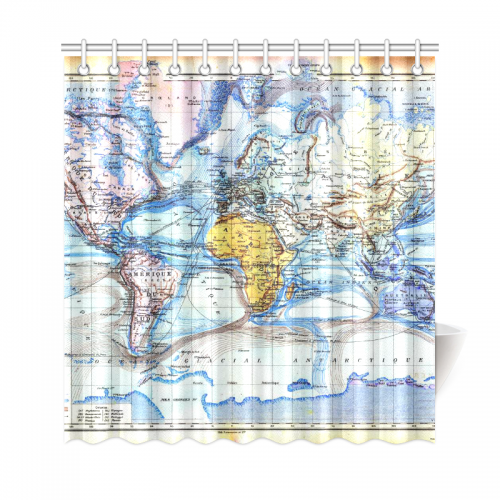 US$ 42.99 InterestPrint World Map Custom Shower Curtain Polyester Fabric  Bathroom Sets Home Decor