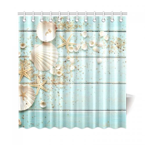InterestPrint Seashell Home Decor Sand Starfish Blue Wooden Back Polyester Fabric Shower Curtain Bathroom Sets