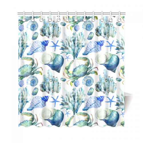 InterestPrint Sea Ocean Home Decor Watercolor Seashell Coral Crab Polyester Fabric Shower Curtain Bathroom Sets
