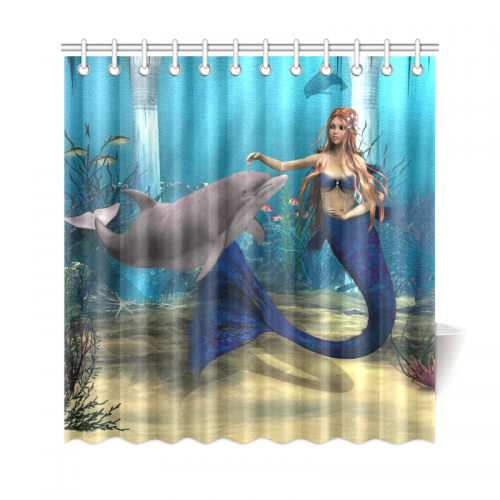 InterestPrint Underwater World Home Decor Mermaid Dolphin Polyester Fabric Shower Curtain Bathroom Sets