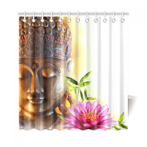 InterestPrint Zen Buddha Home Decor Bamboo Lily Flower Water Polyester Fabric Shower Curtain Bathroom Sets