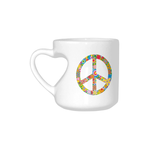 Interestprint White Ceramic Colorful Flower Peace Sign Symbol Heart