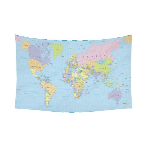 InterestPrint Educational Wall Art Home Decor, Colored World Map ...