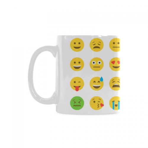 InterestPrint 11 Ounce White Ceramic Lovely Emotion Emoticon Emoji Icon Funny Travel Coffee Mug Cup With Quotes Sayings Unique Christmas Birthday Gifts For