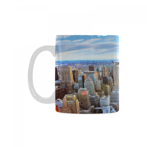 White Ceramic NYC New York Skyline Funny Travel Coffee Mug Cup With Quotes Sayings Cityscape Empire State Building Christmas Birthday Gifts