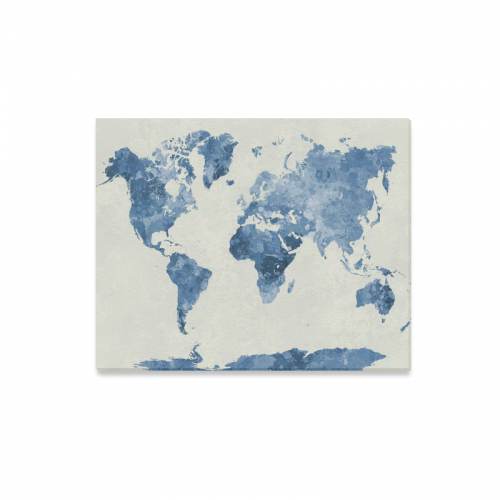 Interestprint watercolor bule world map abstract splatter canvas interestprint watercolor bule world map abstract splatter canvas wall art print painting wall hanging artwork for home decoration gumiabroncs Images