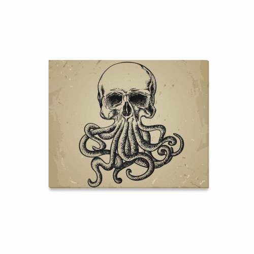 Us 24 99 Interestprint Vintage Octopus Skull Tentacle Canvas Wall Art Print Painting Wall Hanging Artwork For Home Decoration