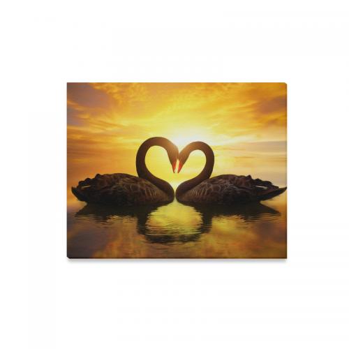 InterestPrint Black Swan in Heart Shape on Sunset Lake Canvas Wall ...