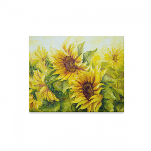 InterestPrint Original Oil Painting Sunny Yellow Sunflowers Canvas Wall Art Print Hanging Artwork For Home Decoration