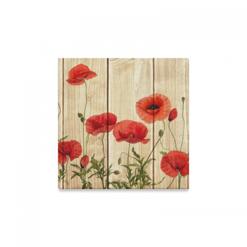 Interestprint poppy flowers on vintage wood canvas wall art print interestprint poppy flowers on vintage wood canvas wall art print flower painting wall hanging artwork stretched and gallery canvas ready to hang for home mightylinksfo