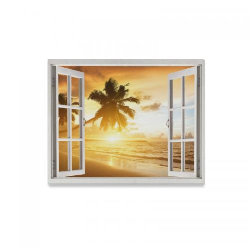 InterestPrint Window Canvas Wall Art Print Palm Tree Beach Seascape ...